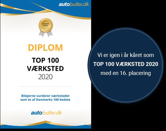 Top 16 af 100 værksteder i Danmark 2020
