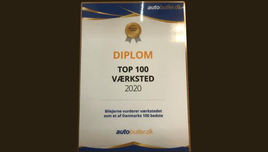 Kåret som Danmarks bedste værksted 2020 top 100 på autobutler.dk