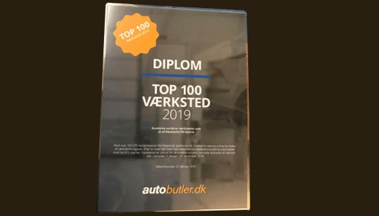 Kåret som Danmarks bedste værksted 2019 top 100 på autobutler.dk
